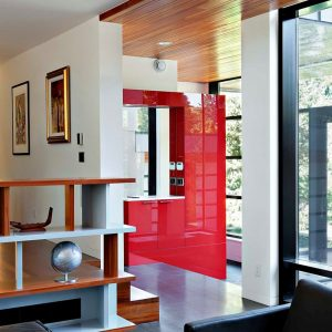 Contrast Red Color For Interior Decor Also Wooden Accent