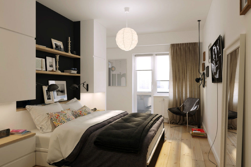 Cozy Bedroom In White With Minimalist Decor And Small Space Design Using Bright Natural Light Exposure