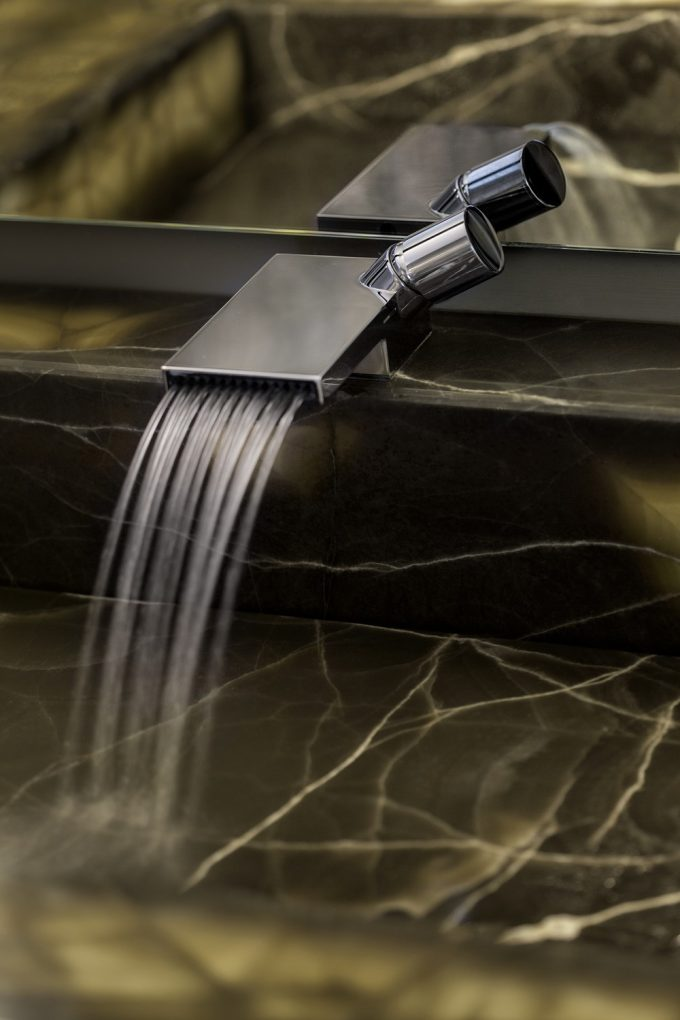 Dark Marble Sink With Modern Faucet Also Mirror In Awesome Vanity Of Powder Space Design
