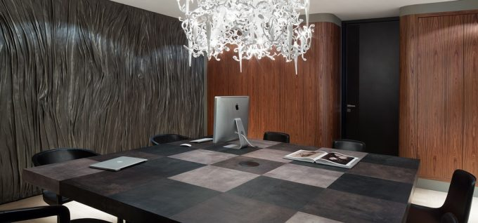 Dark Work Space Design With Black Wall Decor And Chess Pattern Table Also White Chandelier