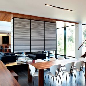 Dining Room With White Chair And Wood Dining Table Also White And Grey Hanging Partition