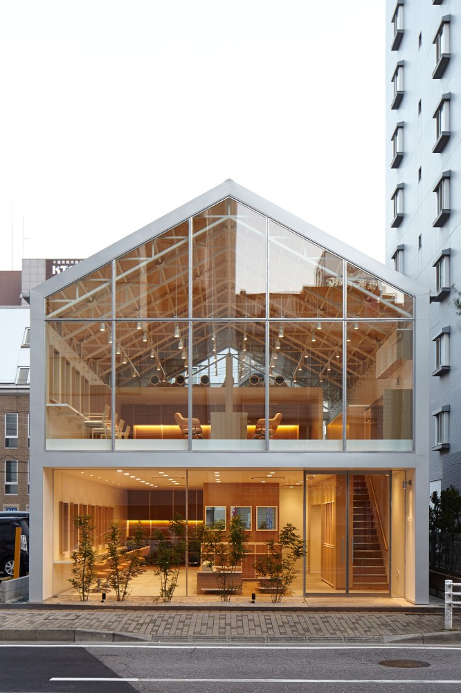 Inspiring Modern Hair Salon Building In Japan With Transparent Facade And Wooden Interior Nuance