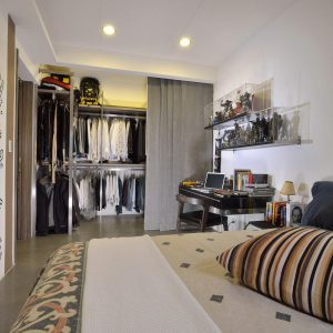 Interesting Closet Design With Grey Sliding Curtain And Contemporary Bed Design Also Small Workspace Using Black Desk
