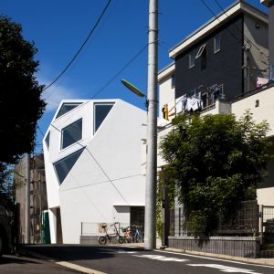 Japanese Minimalist Modern House Design With Polyhedral Shape