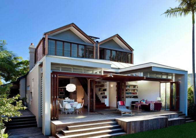 Lovely Mosman House With Open Plan Design With Folding Doors And Wooden Terrace Plus Green Landscape