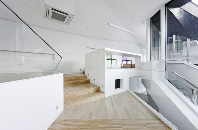 Lovely White Two Built In Desks From Below For Modern Furniture Ideas