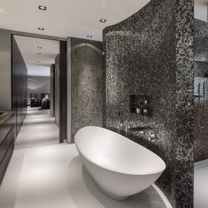 Luxury Bathroom Design With White Tub And Dark Pixeled Wall And Cool Vanity Units Plus White Floor
