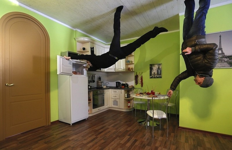 Minimalist Upside Down House With Wooden Floor And White Ceiling It's Very Weird House Design Idea