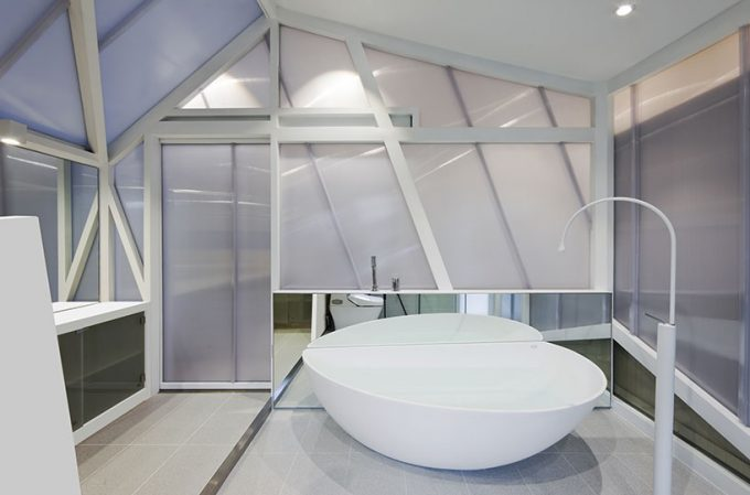 Modern Bathroom Design With Roung Stand Bathtub And Frosted Glass For Privacy And Awesome Architecture Also Tiled Floor