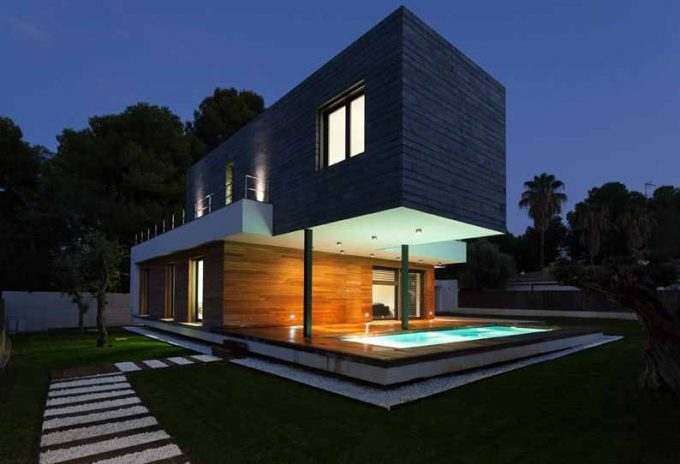 Open Landscape And Interesting Hanging Building Ideas Also Wooden Exterior With Green Lighting