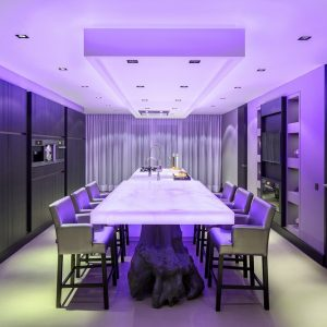 Purple Neon Lighting In Dining Room That Can Be Switch Into White Neon For Modern Kitchen Decor