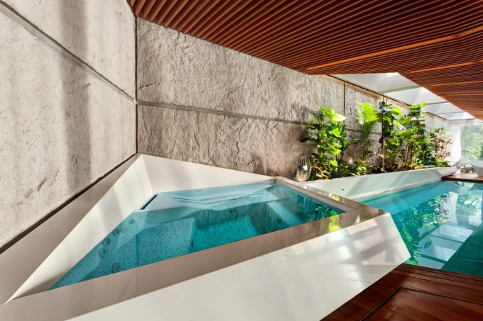 Relaxing Your Senses With Whirlpool And Decorative Wall Also Wood Screen Ceiling
