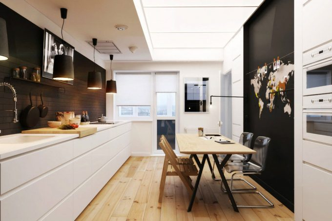 Scandinavian Kitchen Design With Black And White Color Combination Also Maple Wood Floor