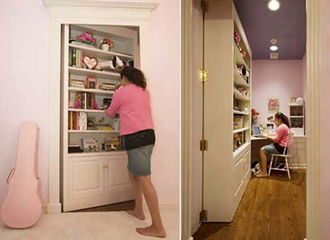 Secret Door Idea With Bookcase Door Is A Great Idea For Safety
