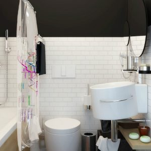 Small Bathroom Design With Black And White Color Interior Using Round Sink And White Subway Tile Wall Decor