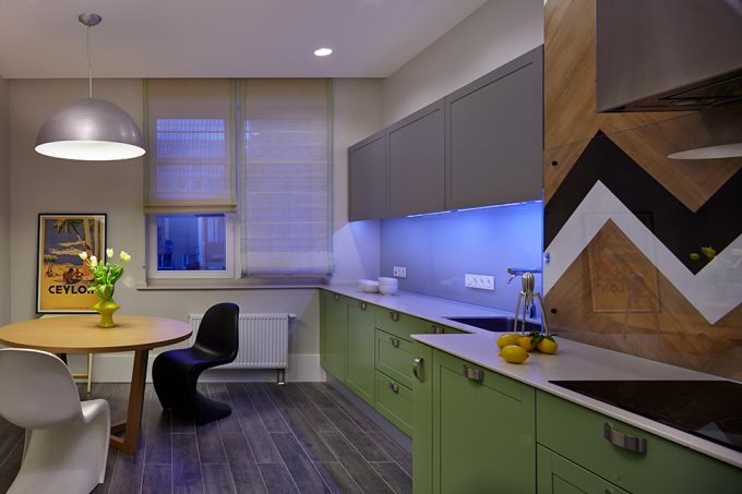Small Kitchen Area Design With Green Cabinets And Grey Hung Cabinetry Also Blue Backsplash Neon Lighting