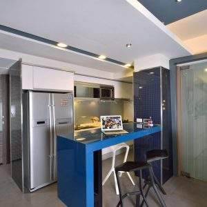 Two Doors Fridge And Blue Kitchen Bar Details Also Yellow Neon Lighting