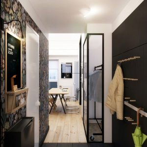 View Corridor And Enterence With Wood Jacket Hanger And Black Color Interior