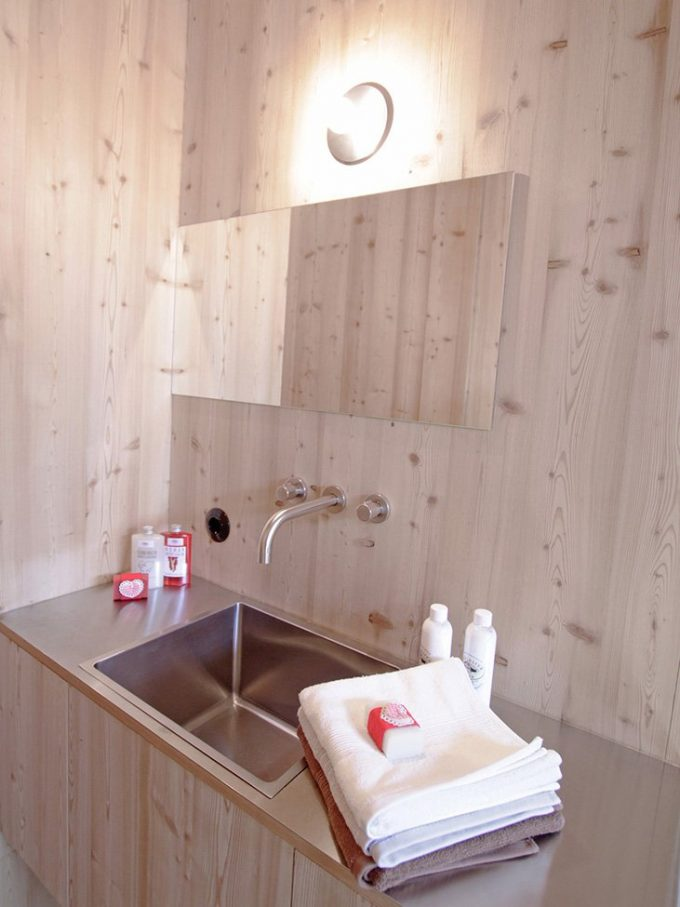 Wonderful Details Wooden Bathroom With Floating Vanity Unit Plus Sunk Sink And Mirror With Bulb Lighting
