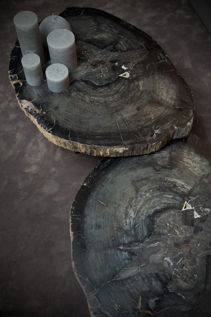 Wood Stone For Coffee Table And Candle For Centerpiece