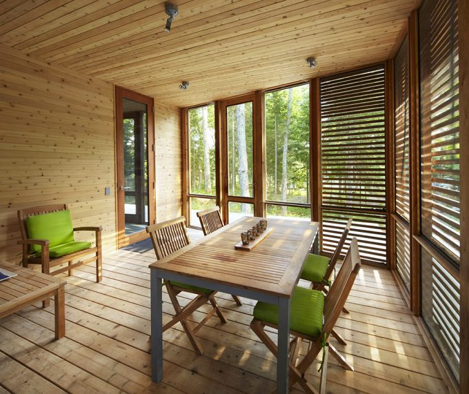 Wooden Terrace With Wood Screen And Glass Windows Plus Wooden Furniture