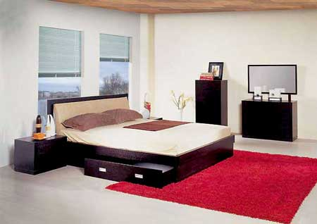 Awesome Bedroom Inspiration With Black Bedding With Storage Also Black Dressing Table Also Red Rugs