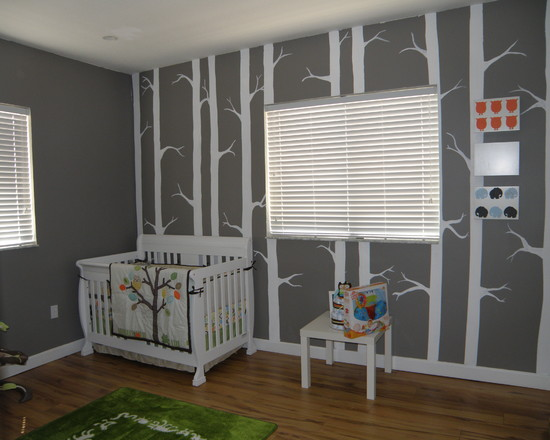 Awesome Modern Nursery Ideas For Boys With Grey Tree Pattern Wallpaper And Brown Carpet Decor