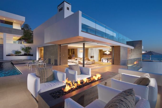 Awesome Outdoor Patiowith Gass Firepit And Modern White Outdoor Sofa