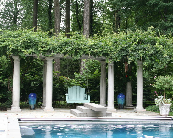 Awesome Swimming Pool With Swimming Pool With Diving Boards And Classic Plants Pergola Decor Also Green Lush Vegetation