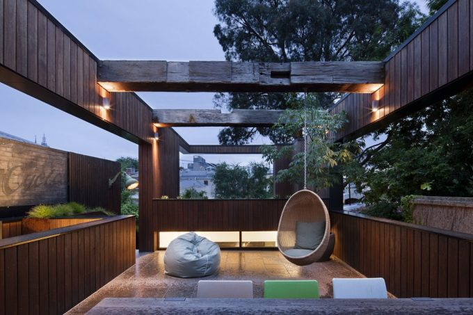 Awesome Terrace With Wooden Wall And Beams Also LED Lighting And Outdoor Lighting Ideas