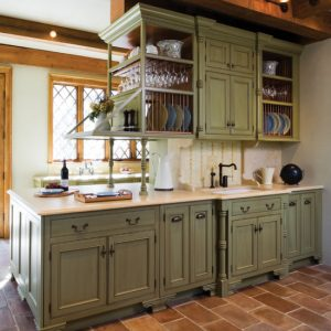 Beach House Kitchen With Light Green Kitchen Cabinets And Tiled Floor And Track Lighting Decorations