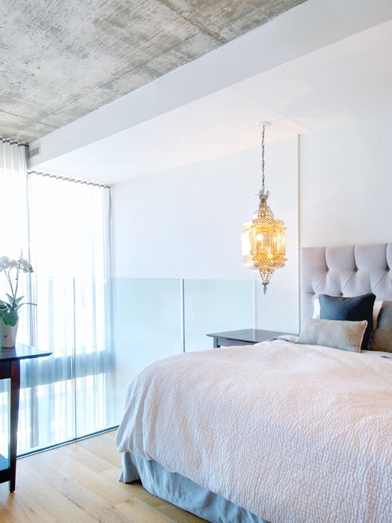 Beautiful Contemporary Bedroom With White And Blue Theme Also White Bedding Plus Moroccan Lamps