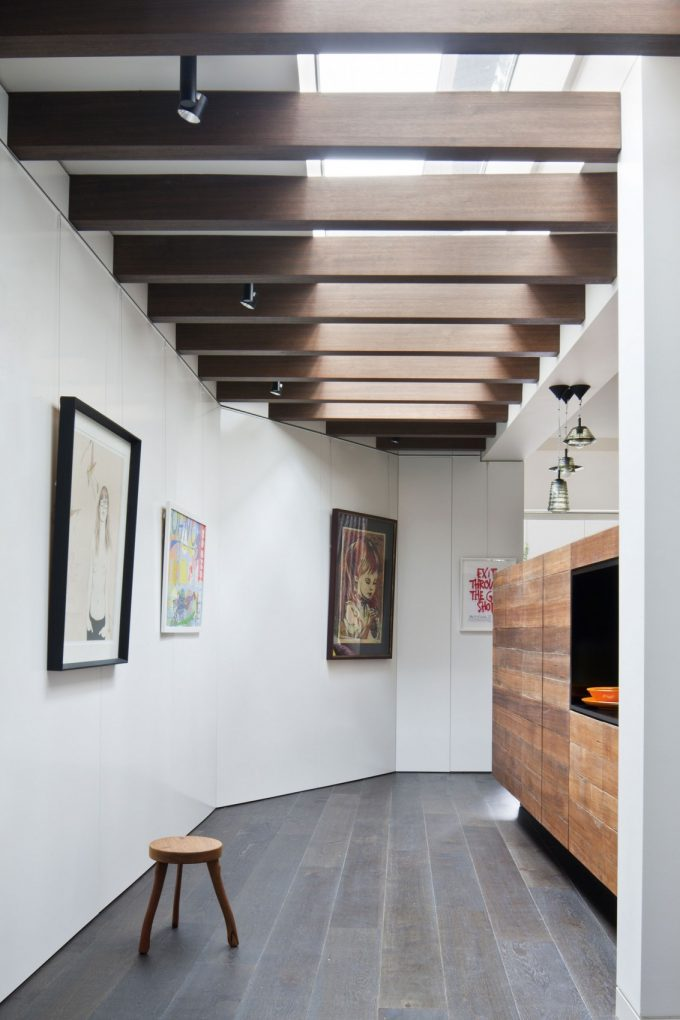 Beautiful Hallway With Skylight For House And Gallery Art Wall Also Stone Like Flooring Tile