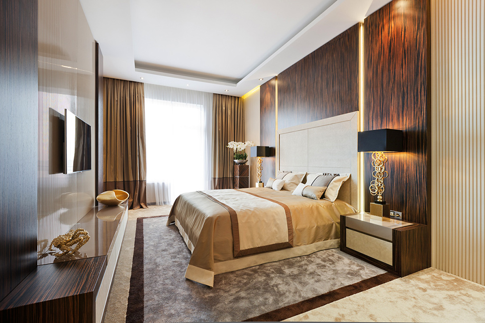 Beautiful Modern Bedroom With Art Deco Brown And Beige Color Combination For The Interior