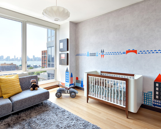 Beautiful Modern Nursery Ideas For Boys With Grey Sofa And Grey Rugs Also Wood Crib Decor