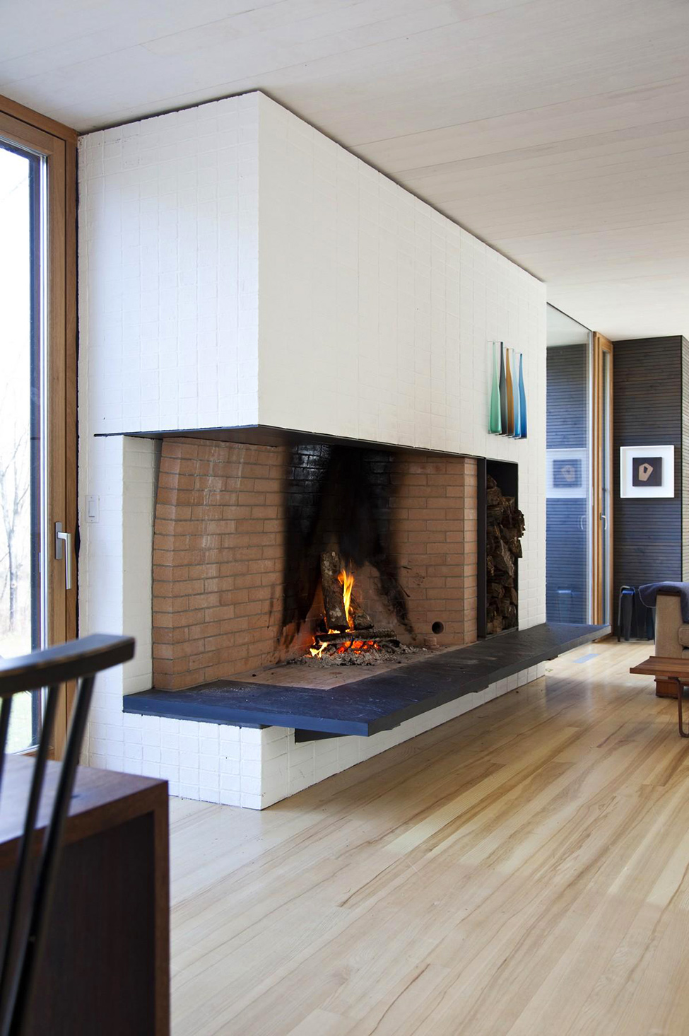 Beautiful Open Fireplace With Brick Box And White Wall Also Wood Floors Decor