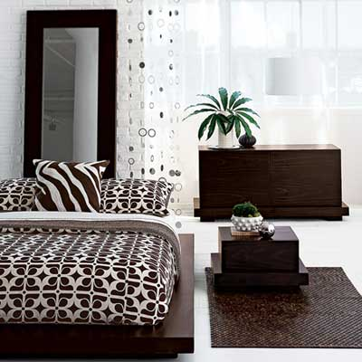 Bedroom Inspiration With White Bedroom Interior And Brown Duvet Also Cabinets Plus Brown Rugs