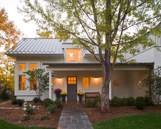Comtemporary Farmhouse Exterior And Stone Pathway Plus Ranch House Curb Appeal