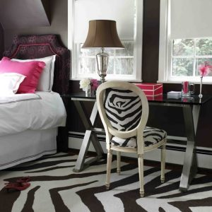 Contemporary Attic Bedroom With Zebra Room Accessories In Rugs And Chairs