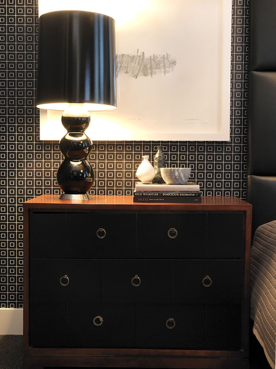 Contemporary Bedroom With Black Patterned Wallpaper And Black Side Bed Table With Crystal Spheres Table  Decor