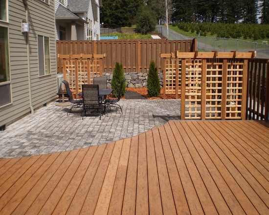 Contemporary Decks With Lattice And Wood Shiding For Vintage House Design