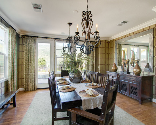Contemporary Dining Room With Vase Mirror Center Pieces And Traditional Wooden Dining Furniture Also Chandelier Hand Forged Lighting Fixture