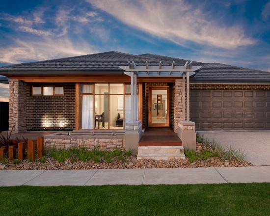 Contemporary Exterior With Brick Exterior And Wood Pergola Decor Plus Ranch House Curb Appeal