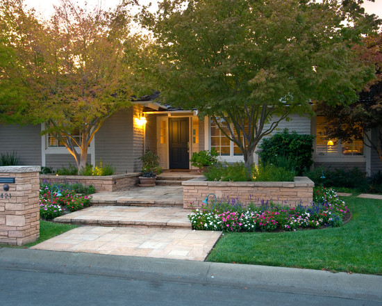 Contemporary Exterior With Grey Wood Shiding And Stone Brick Exterior Plus Ranch House Curb Appeal