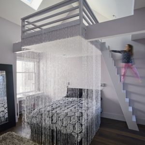 Contemporary Kid's Bedroom With Screen Bed Area And Bunk Bed Design Also Sky Lighting Decor Plus Dark Wooden Floor With Grey Rugs Area