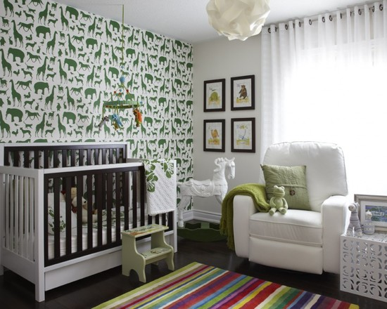 Contemporary Kids Room Ideas With Green Animal Wall Paper And Wood Quilt Designs For Babies Also White Chairs Completed With Colorful Rugs