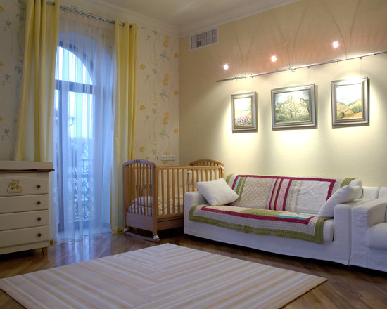 Contemporary Kids Room With Traditional Quilt Designs For Babies And Picture Rail Lighting Also White Sofa Plus White Rugs Decor