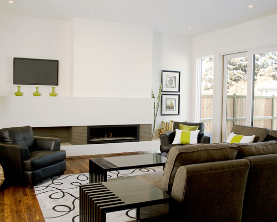 Contemporary Living Room Design With Black Leather Chair Also Brown Sofa Plus Contemporary Ventless Gas Fireplace