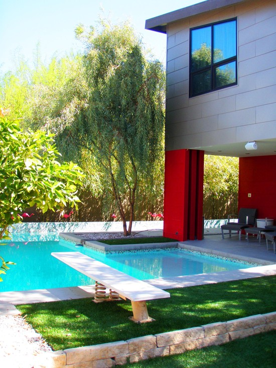 Contemporary Pool With Green Outdoor Plants Decor And Cool Terrace Also Swimming Pool With Diving Boards
