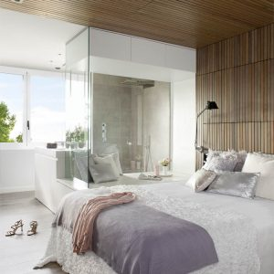 Contemporary White Bedroom Design With Wooden Ceiling Decor And Cool Bathroom Design Alsn Floor To Ceiling Windows And Door